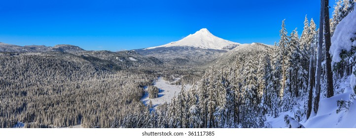Majestic Panorama of Mt. Hood on a bright, sunny day during the Winter months.