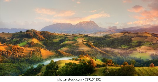 Majestic panoramic view of valley in Transylvania, Romania