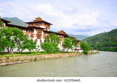 Majestic Punakha Dzong at the Confluence of the Pho Chhu and Mo Chhu Rivers in Bhutan
