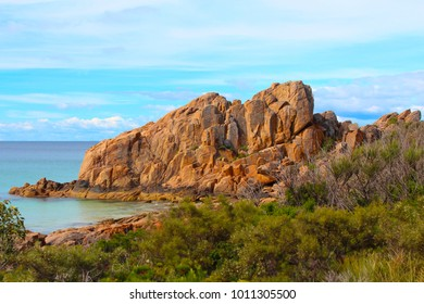 Majestic red and brown  Castle Rock near Dunsborough South Western Australia  is a popular walking , fishing and hiking destination  in spring and summer.