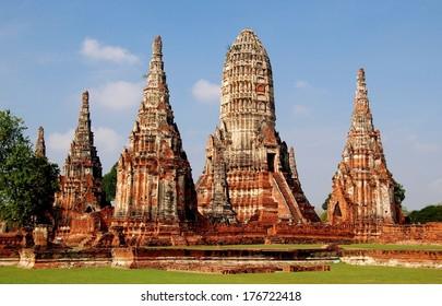 Majestic ruins of 1629 Wat Chai Watthanaram built by King Prasat Tong with its principal Prang (center) representing Mount Meru, the abode of the gods in Ayutthaya, Thailand  *