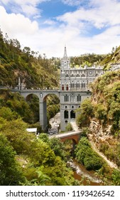 Majestic Sanctuary Visually One Of The Most Beautiful in The World, Located in a Giant Canyon Above Guáitara River. Famous Tourist Site and Miraculous Place for Veneration in South America