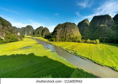 the majestic scenery on Ngo Dong river in Tam Coc Bich Dong view from the mountain top in Ninh Binh province of Viet Nam