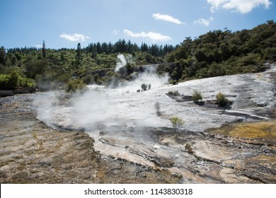 Majestic scenic landscape with fumaroles, mineral deposits and microbial mats at Orakei Korako geothermal area in Rotorua, New Zealand