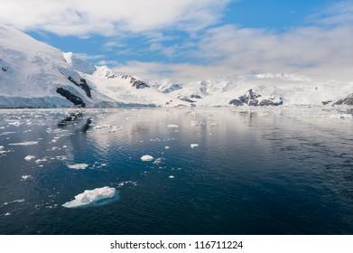 Majestic seascape in Antarctica, bright sunny day