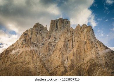 Majestic sharp peaks of Trango Towers in Karakoram Mountain Range in Pakistan.