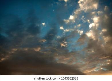 Majestic skyscape on the Roznow lake in Poland