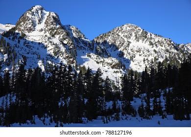 Majestic snowy mountain peaks in Mount Baker National Park