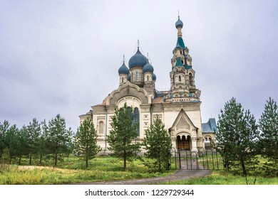 Majestic Spassky Cathedral in the village of Kukoboi on a cloudy day, Yaroslavl Region, Russia.