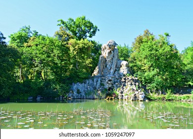 The majestic stone sculpture of the Colossus of the Apennines by Giambologna in the 16th century, located in the park of Villa Demidoff in Florence in Italy