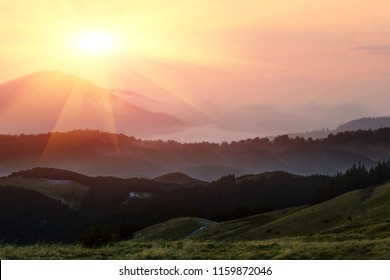 majestic summer dawn image, amazing sunrise scenery, awesome morning sunshine landscape, beautiful nature background  in the mountains, Carpathians, Ukraine, Europe travel