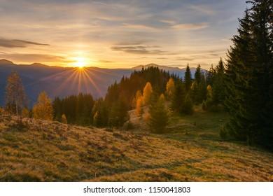 Majestic sunrise in the Carpathian mountains landscape, Ukraine.