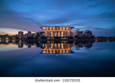Majestic Sunrise at Masjid Sultan Zainal Abidin Putrajaya (Iron Mosque) with perfect reflection