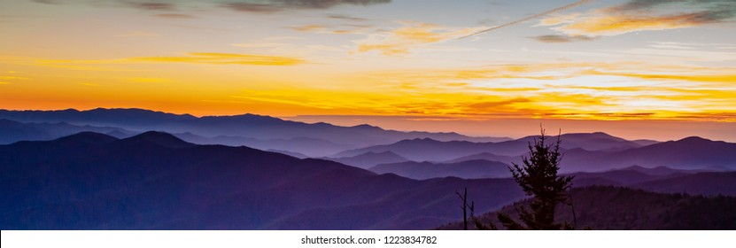 Majestic sunset at Clingmans Dome at Great Smoky Mountains National Park