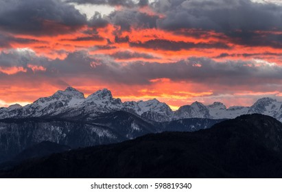 Majestic sunset in the mountains