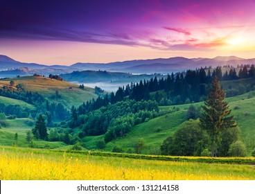 Majestic sunset in the mountains landscape. Carpathian, Ukraine, Europe. Beauty world.