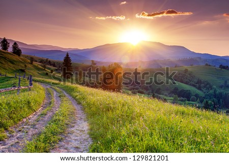 Majestic sunset in the mountains landscape. Carpathian, Ukraine, Europe.