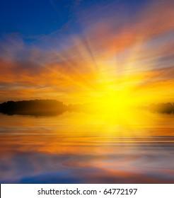 majestic sunset on a lake