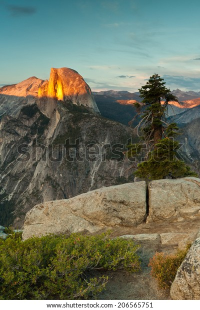 Majestic sunset over Half Dome at Yosemite National Park taken from Glacier Point