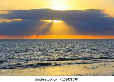 Majestic sunset over ocean surafce