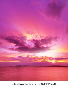 Majestic sunset over the sea. Vertical composition.