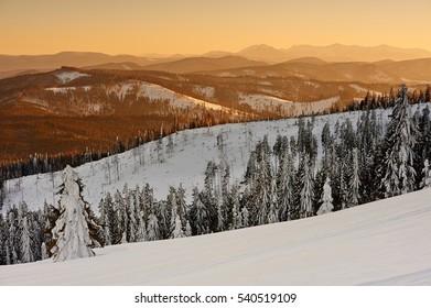 Majestic sunset in the winter mountains landscape. Beskids, Rysianka - Shutterstock ID 540519109
