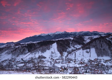 Majestic sunset in the winter mountains landscape.