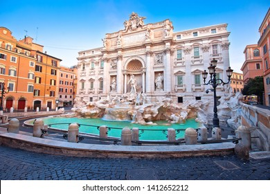 Majestic Trevi fountain in Rome street view, eternal city, capital of Italy