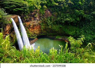 Majestic twin Wailua waterfalls on Kauai, Hawaii