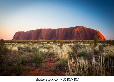 Majestic Uluru at sunrise on a clear winter's morning in the Northern Territory, Australia