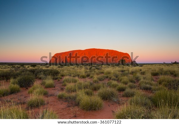 Majestic Uluru at sunset on a clear winter's evening in the Northern Territory, Australia
