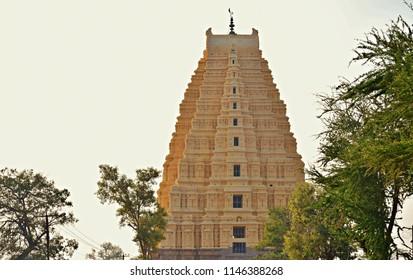 'Majestic view of 160ft high, Eastern gopura of Virupaksha temple, Hampi, Karnataka'