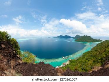 Majestic view from Bohey Dulang Island Peak Semporna Sabah