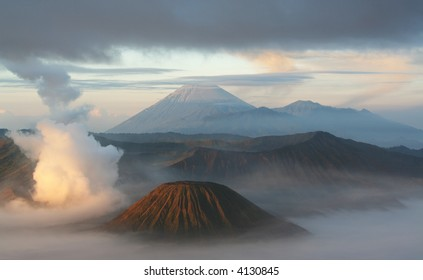 Majestic view of the Bromo volcano at sunrise