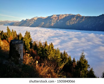 Majestic view of cloudscape at Harder Kulm over Interlaken, Switzerland. Jungfrau summit is able to see from this viewpoint.