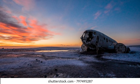 Majestic view during sunrise of Douglas Super DC-3 plane wreck at crash site near to Sólheimasandur beach in southern Iceland.