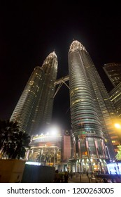 Majestic view of KLCC in the night. Malaysia Petronas Twin Tower or KLCC from across the park of the building - 11th october 2018 Kuala Lumpur, Malaysia