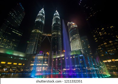Majestic view of KLCC in the night. Malaysia Petronas Twin Tower or KLCC from across the park of the building - 24th october 2018 Kuala Lumpur, Malaysia