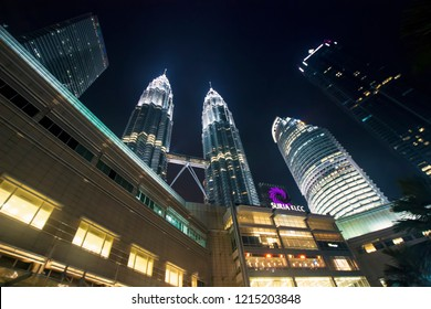 Majestic view of KLCC in the night. Malaysia Petronas Twin Tower or KLCC from across the park of the building - 29th october 2018 Kuala Lumpur, Malaysia