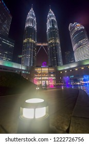 Majestic view of KLCC in the night. Malaysia Petronas Twin Tower or KLCC from across the park of the building - 6th NOV 2018 Kuala Lumpur, Malaysia
