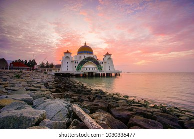 Majestic view of Malacca Straits Mosque during sunset.