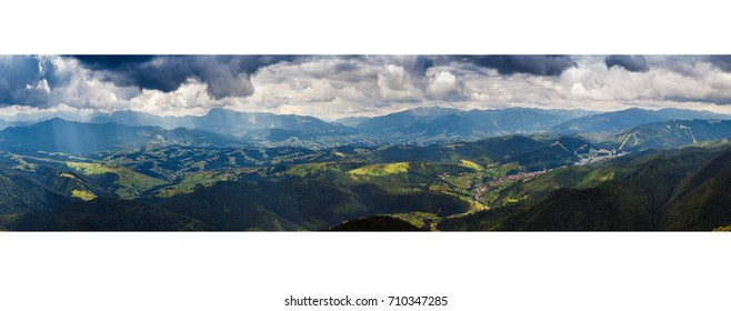 The majestic view of mountain panorama blue sky