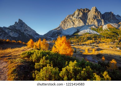 Majestic view of the Mt. Sass de Stria from Falzarego pass. Location Cortina d'Ampezzo, Dolomiti, South Tyrol, Italy, Europe. Scenic image of popular travel destination. Discover the beauty of earth.