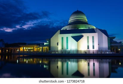 Majestic view of An Nur Mosque during blue hour morning  with stunning reflections and awesome sky background. Blur due to long exposure.