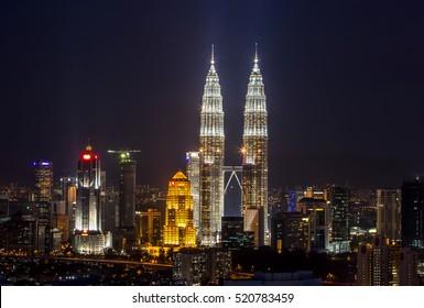 Majestic view of Petronas Twin Towers at night Kuala Lumpur