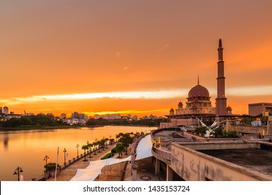 majestic view of putra mosque, putrajaya, malaysia during sunset