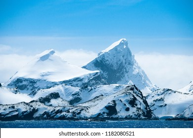 Majestic view of snow capped mountains in Antarctica