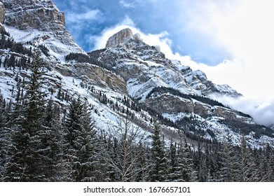 Majestic view of unnamed peak near Pinto Lake along Icefields Parkway in Banff National Park, Alberta