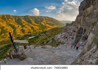 Majestic view of Vardzia mountain town and monastery in Georgia at sunset
