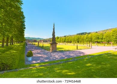 Majestic view of Weikersheim Schloss or Weikersheim Castle Garden
